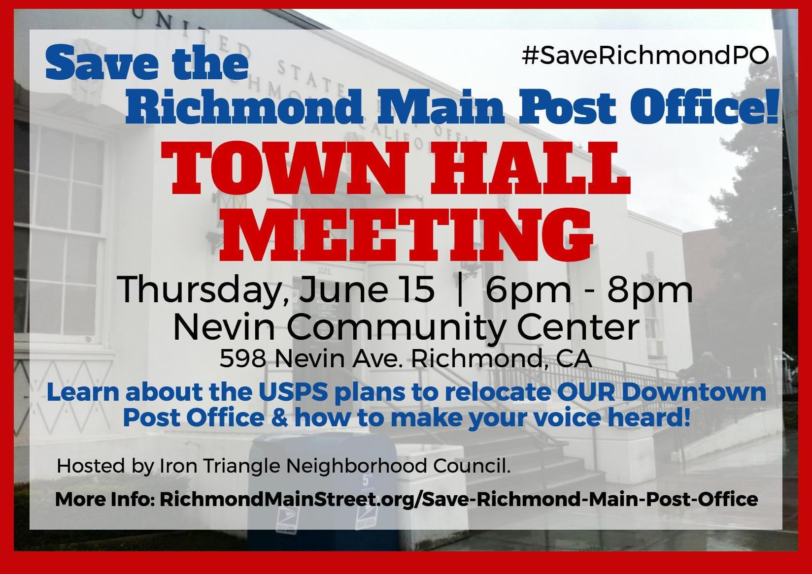 Richmond Leaders to Host Town Hall, Rally to Save Historic Downtown Richmond Post Office
