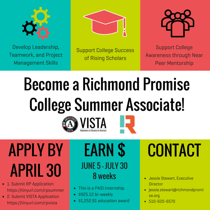 Richmond Promise is Hiring! College Summer Associate Positions
