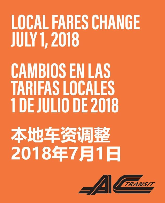 AC Transit Announces: New Local Fares Coming Sunday, July 1, 2018