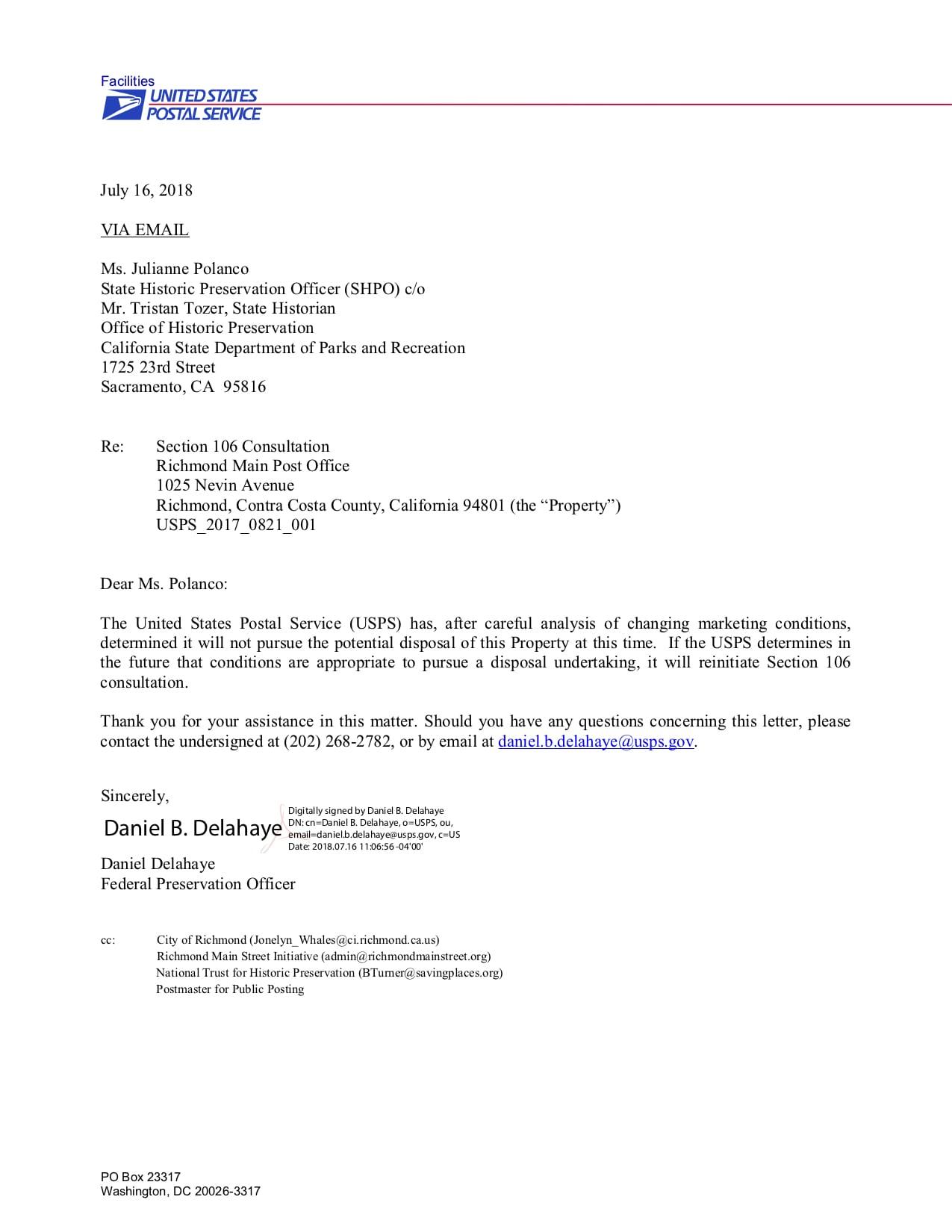 USPS letter to SHPO July 16, 2018