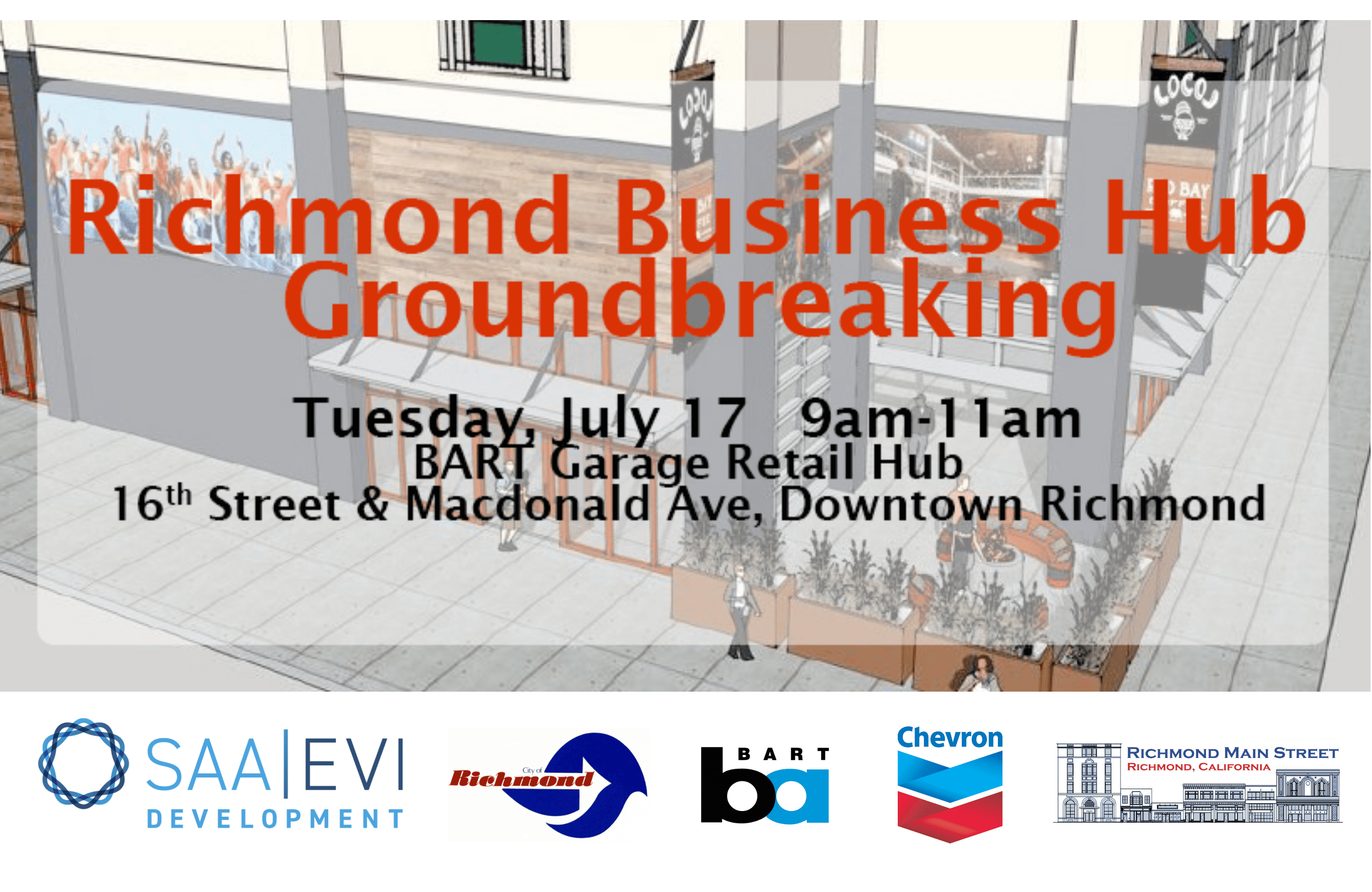 Invite for Richmond Business Hub Groundbreaking on July 17, 2018