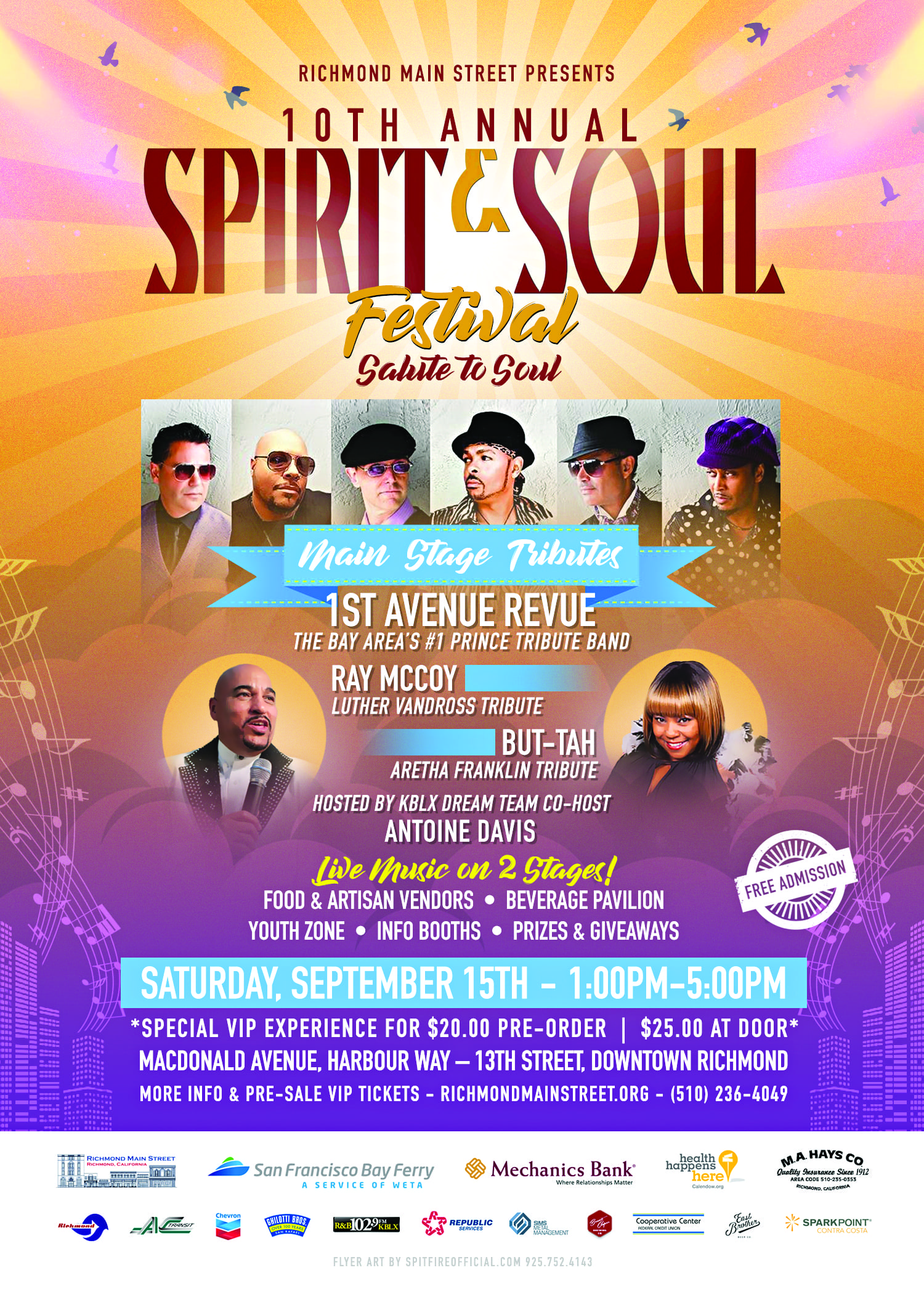 "Downtown Richmond Ready to Celebrate Main Street Heritage and Renewal with ""Salute to Soul"" Tributes at the 10th annual Spirit & Soul Festival"