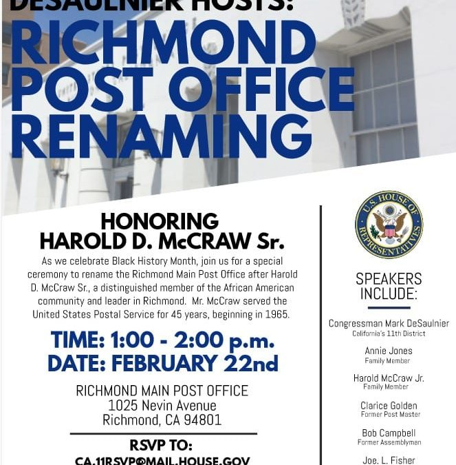 Richmond Main Post Office Renaming Ceremony Set for February 22