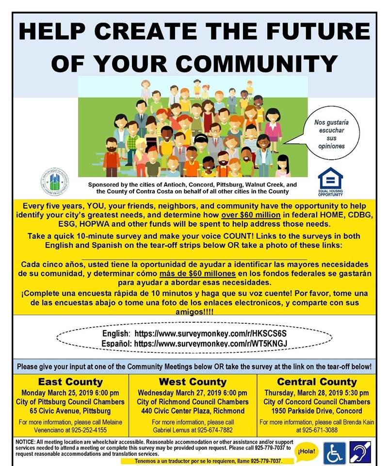 Help create the future of your community! West County Consolidated Plan Meeting & Survey