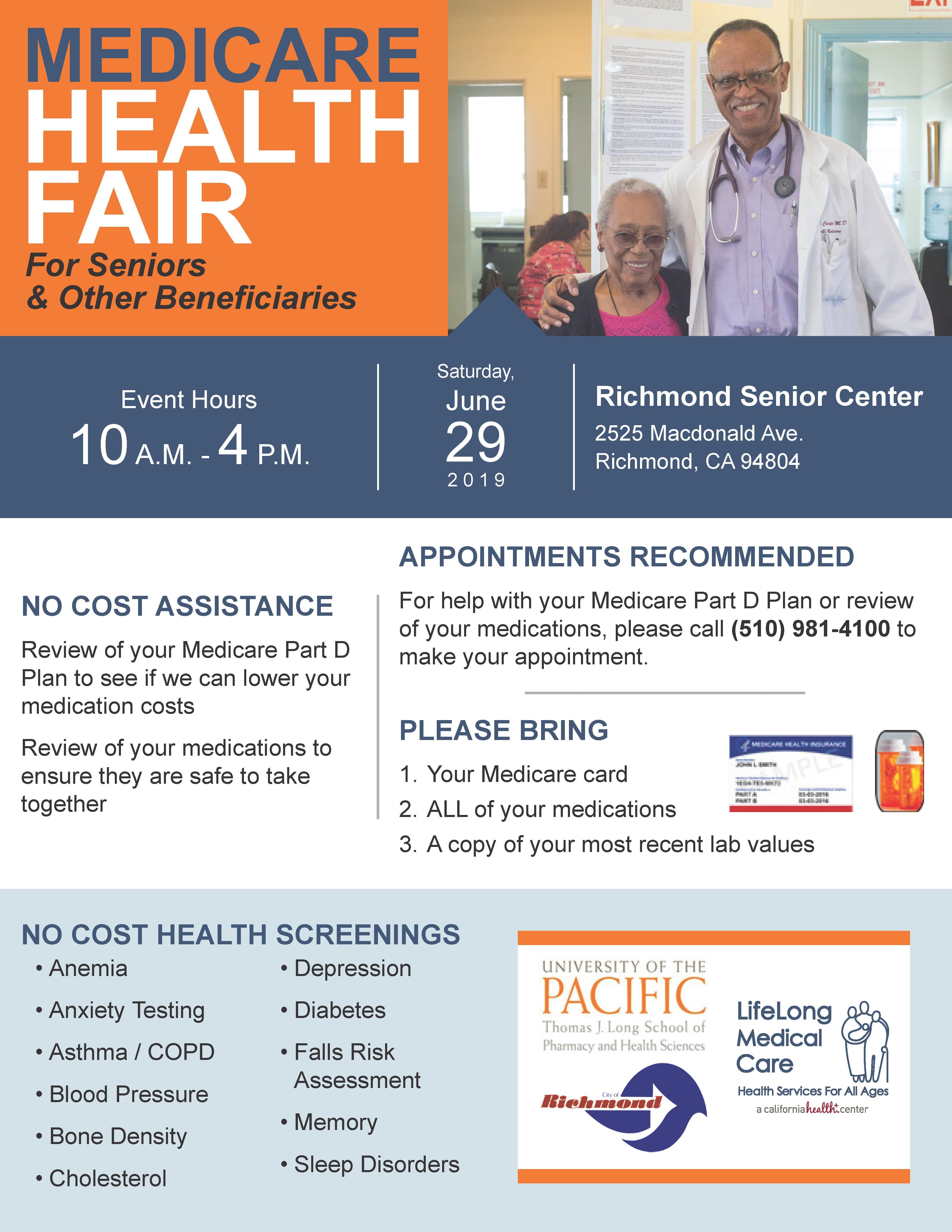 Flyer for Medicare Health Fair at Richmond Senior Center on 6/29/2019