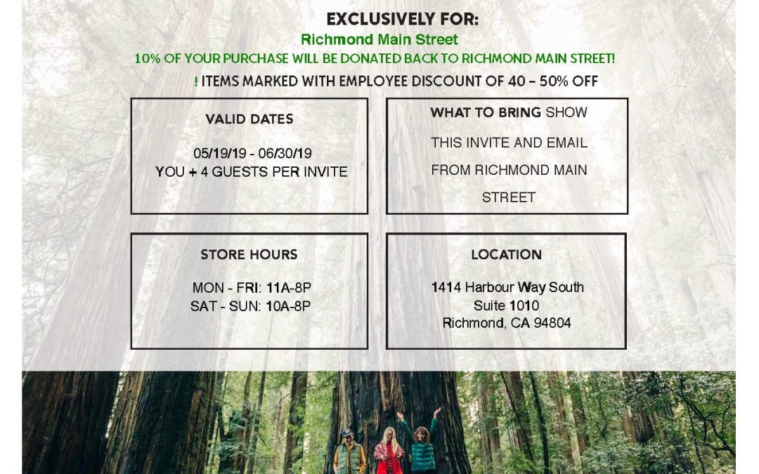 Exclusive Offer to Shop at Columbia Employee Store and Support Richmond Main Street