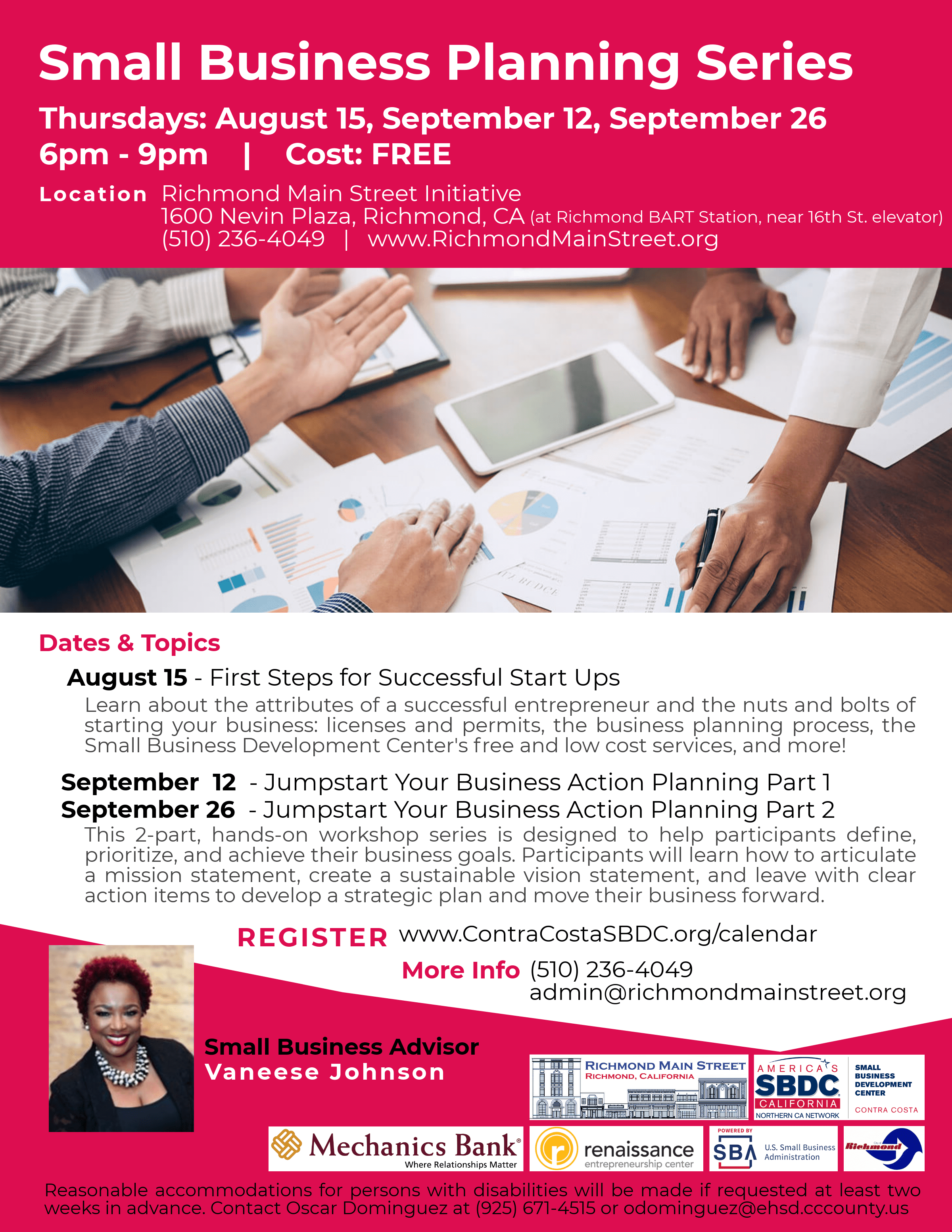 Back by Popular Demand: FREE Business Planning Workshop Series Starts August 15