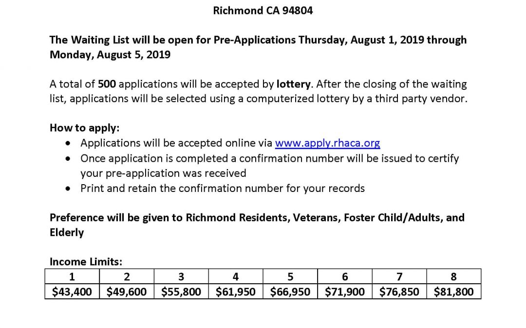 City of Richmond Announcement: Nevin Plaza Waiting List Opening August 1