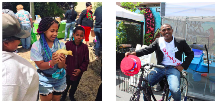 2 photos from Healthy Village Festival 2019: Girl holding a duckling and smiling (left) and Councilmember Demnlus Johnson III posing on the bike blender smoothie machine (right)