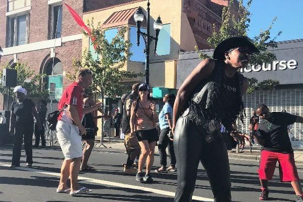 People dancing on Macdonald Avenue at Spirit & Soul Festival 2019