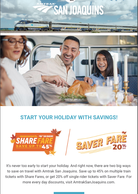 Ride Amtrak San Joaquins with November Savings