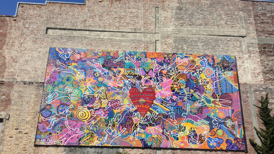 Community Green Space Heart Mural